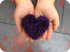 Heart-shaped pom-pom