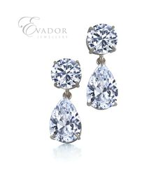 Evador princess drop earrings. Handmade in sterling silver and set with round and pair shaped cubic zirconias.