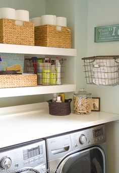 Easy organization projects diy floating shelves laundry room