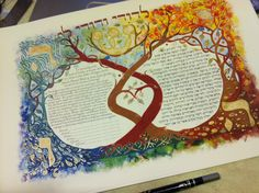 Four Elements- Air, Water, Earth and Fire, Wedding Contract or Ketubah. $130.00, via Etsy.