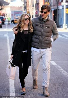 Olivia Palermo and Johannes Huebl in New York's West Village.