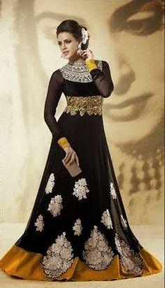 Elegant Designer Long Black Anarkali | Saris and Things