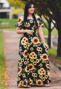 Girls Maxi Dresses, Prom Dresses With Sleeves, Cute Dresses, Vintage Dresses, Casual Dresses, Short African Dresses, Latest African Fashion Dresses, Sunflower Dress, Night Dress For Women