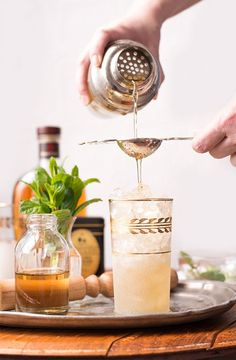 This cocktail is a mash up of peach iced tea and a mint julep.