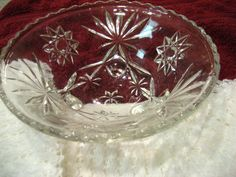 Vintage Star of David Clear Glass Scalloped Edge Footed Bowl Excellent Condition | eBay