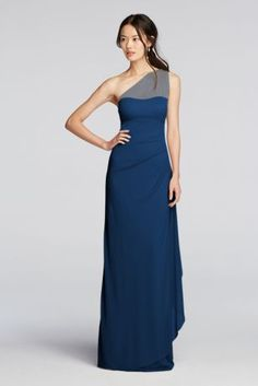 6af9cfc40734d This simple but stunning one-shoulder bridesmaid dress features an illusion  neckline and a mesh