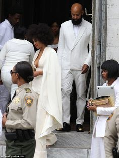 Mr and Mrs Ferguson! Solange and her new husband were seen walking down the stairs after t...