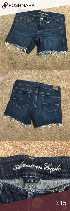 "Dark Denim Jean Shorts These are the must comfortable and flattering jean shorts I've owed! Sadly they do not fit my anymore. The inseam is about 5"" and they lay right below the belly button. These jean shorts are a steal! American Eagle Outfitters Shorts Jean Shorts"