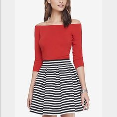 Express red off shoulder top Off shoulder top with elastic trim for comfort. Half sleeves, cotton, modal, and spandex. Only tried on Express Tops Blouses