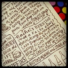 Love the mix of lettering here School Recipe, Cookbook Ideas, Doodle Art Journals, Sketch Notes, Printed Matter, Doodles Zentangles, Journal Paper, Lost Art, Letter Writing