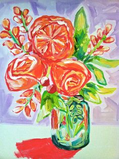 """16 x 20 """"Flowers of Poise"""" Acrylic Canvas Painting, Evelyn Henson"""