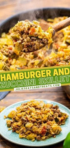 Hamburger and Zucchini Skillet can be on the table in 30 minutes! The entire family will gobble up this cheesy, hearty, filling meal loaded with ground beef, vegetables, and rice. Make this healthy main dish recipe ahead for easy dinners and lunches throughout the week!