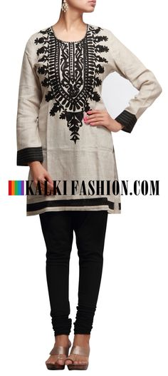 Buy it now http://www.kalkifashion.com/beige-kurti-with-resham-embroidery.html Beige kurti with resham embroidery