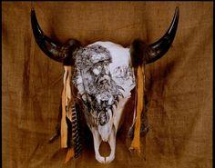 by Dyke Roskelley Cow Skull, Skull Art, Buffalo Skull, Indian Art, Westerns, Native American, Moose Art, Cows, Painting