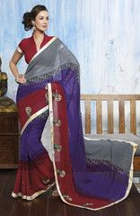 #Shaded casual #saree #sari in #chiffon material is instant wear.