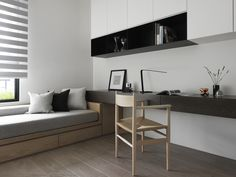 minimalist office interior ideas with office wall and bench sofa. White and gray cabinetry and drawer work surface make this home office a minimalist's dream - Houses interior designs Apartment Office, Design Apartment, Office Sofa, Office Furniture, Minimalist Office, Minimalist Interior, Interior Modern, Interior Design Layout, Layout Design