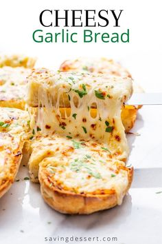 Cheesy Garlic Bread - this recipe is easy, quick and always delicious! Great served with soups, salads, casseroles or as a hearty appetizer dipped in pizza sauce #garlicbread #cheesygarlicbread #cheesybread #appetizer #sidedish #cheesebread #Italiangarlicbread #cheeseandgarlicbread Appetizer Recipes, Dessert Recipes, Appetizers, Dinner Recipes, Homemade Italian Meatballs, Hard Bread, Make Garlic Bread, Pasta E Fagioli Soup, Spinach Pasta