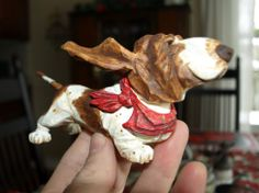 Darling little hound wood carving