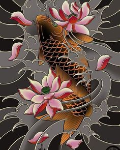 Koi Tattoo Sleeve, Carp Tattoo, Koi Fish Tattoo, Fish Tattoos, Japanese Tattoo Designs, Japanese Tattoo Art, Oni Mask Tattoo, Japan Tattoo, Kawasaki Vulcan
