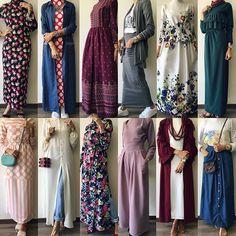 which one is ur favorite? الطلب و الاستفسار- وتساب: - Aseel Khader - Free Modesty Fashion, Abaya Fashion, Muslim Fashion, Skirt Fashion, Fashion Dresses, Hijab Fashion Casual, Hijab Casual, Hijab Style, Hijab Chic