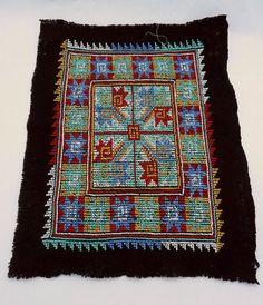 Vintage Hmong Cross Stitch Embroidery on Black Monk's Cloth BIG TBIRD Design…