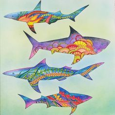 I would not mind swimming with these sharks. #lostocean #lostoceancoloringbook…