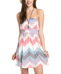 Loving this Pink & Gray Zigzag Strapless Dress on #zulily! #zulilyfinds