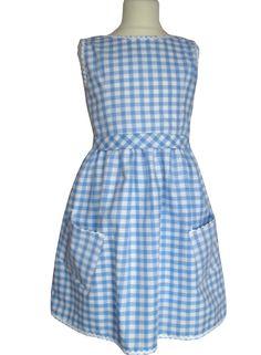 Robe fille à carreaux Vichy bleu coton sans manches : Mode filles par Ecosap