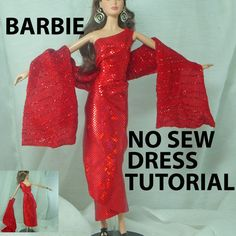 $2.99 Barbie One Shoulder Wrap No Sew Dress Tutorial by ljeans on Etsy