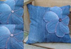 What to do with old jeans? - 4 DIY ideas for recycling denim jeans Pet of jeans pad - Craft Portal - The best craft site with step by step free Denim is a sturdy fabric that can be used for various crafts. Consider recycling denim jeans into some useful t Jean Crafts, Denim Crafts, Sewing Pillows, Diy Pillows, Cushions, Sewing Crafts, Sewing Projects, Sewing Jeans, Denim Flowers