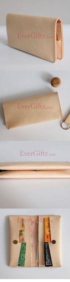 Handmade leather folded vintage women men long wallet clutch phone purse wallet