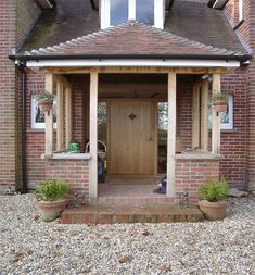 Building open porch but should I go with brick pil. - Building open porch but should I go with brick pil… – Building open porch but should I go with brick pil… – - Oak Front Door, Front Door Porch, Front Porch Design, Porch Designs, Porch Uk, House With Porch, House Front, Building A Porch, Brick Building