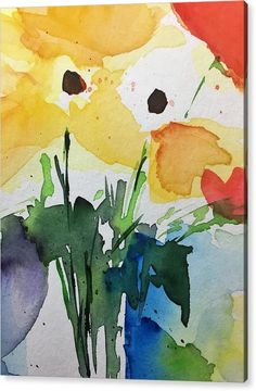 Floral Acrylic Print featuring the painting Watercolor Yellow Flowers by Britta Zehm