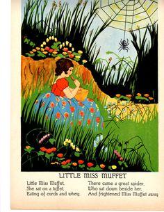 Original Vintage 1920s Nursery Rhyme Page to Frame Spider Web Little Miss Muffet Green Black Red Blue Mother Goose. $15.00, via Etsy.