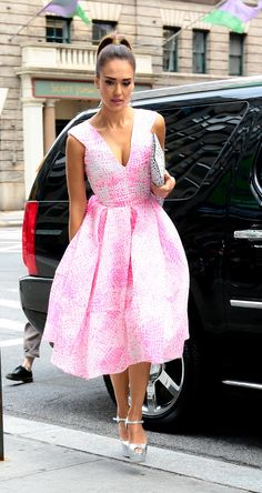 Jessica Alba added a serious pop of pink to NYC on Tuesday.