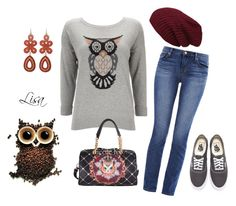 """Owl Always Love You"" by coolmommy44 ❤ liked on Polyvore featuring Wallis, J Brand and Vans"