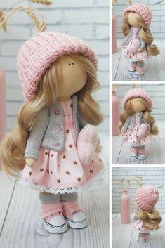 Art Doll Poupée Puppen Pink Doll Baby Doll Fabric Doll Tilda Doll Bambole Soft Doll Decor Doll Muñecas Rag Doll Handmade Doll by Kristina