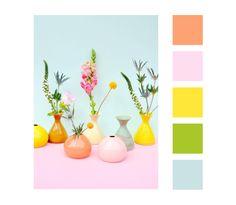 #color #palette #pastel #flowers #deco #jars