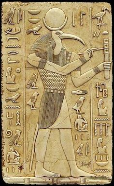 God Thoth.. Ibis-headed god of the moon, drawing, writing, geometry, wisdom, medicine, astronomy and magic.. peace & love be upon Egypt...Earth.