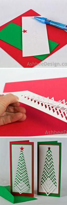 How to Make Christmas Postcard - DIY & Crafts - Handimania 3d Christmas, Christmas Projects, Holiday Crafts, Pop Up Cards, Xmas Cards, Diy Cards, Origami, Diy And Crafts, Paper Crafts