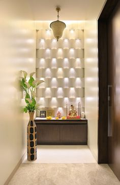 pooja room in living room - Google Search                                                                                                                                                      More