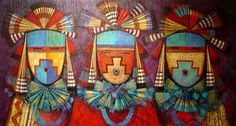 """""""Three in Song"""" - Native American Painting by Tony Abeyta"""