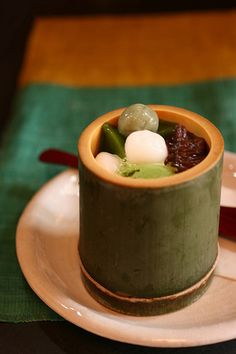 """""""Matcha parfait in bamboo --- Tokichi Nakamura's cafe, Uji Kyoto, Japan --- This cafe is known as the best green tea cafe in Uji. This parfait had a rich matcha flavor and was very delicious!"""" i want to eat this so badly Japanese Sweets, Japanese Food, Traditional Japanese, Japanese Wagashi, Japanese Deserts, Japanese Matcha, Asian Desserts, Asian Recipes, Sushi Recipes"""