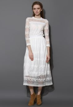 Full of Grace White Lace Mesh Maxi Dress - Dress - Retro, Indie and Unique Fashion