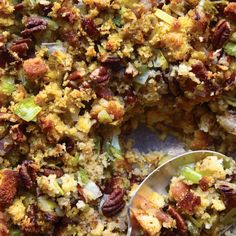 Cornbread, Bacon, Leek, and Pecan Stuffing - made with gluten free cornbread mix (wegmans brand!)