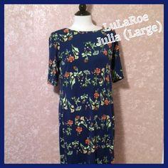 NEW LuLaRoe Julia Dress Navy Floral Large L NWT NEW LuLaRoe Julia Dress Navy Floral Large L NWT - Gorgeous print - so sad it doesn't fit me! LuLaRoe Dresses
