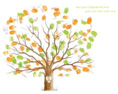 Fingerprint Family Tree Guestbook 11x15 Print