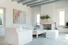 Summer House in Greece ♥ Лятна вила в Гърция | 79 Ideas - White -- and the slightest color is effective.