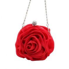 Ladies Satin Satin Rose Design Evening Party Handbag Purse Clutch Munaudiere-Red