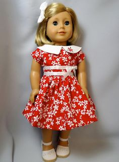 American Girl Doll Clothes Red Flowered Summer Dress with Embroidery